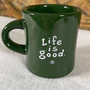 Life Is Good Diner Style Coffee Mug Tea Cup Green